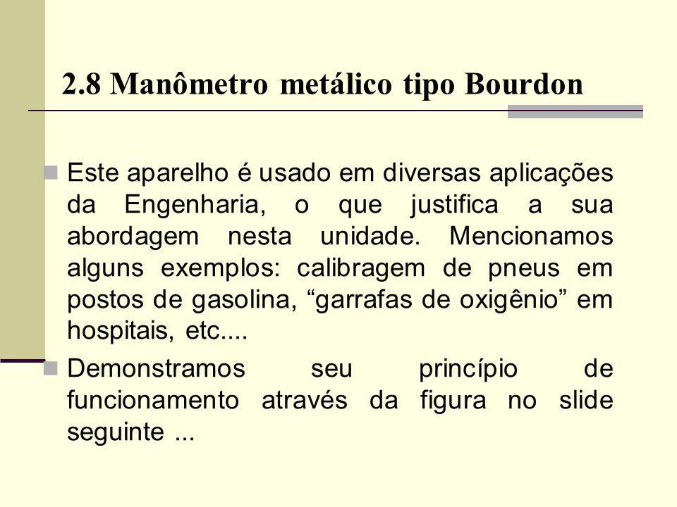 2.8 Manômetro metálico tipo Bourdon