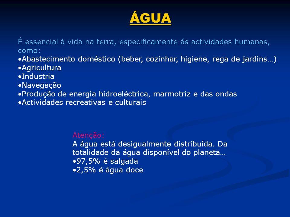 ÁGUA É essencial à vida na terra, especificamente ás actividades humanas, como: Abastecimento doméstico (beber, cozinhar, higiene, rega de jardins…)