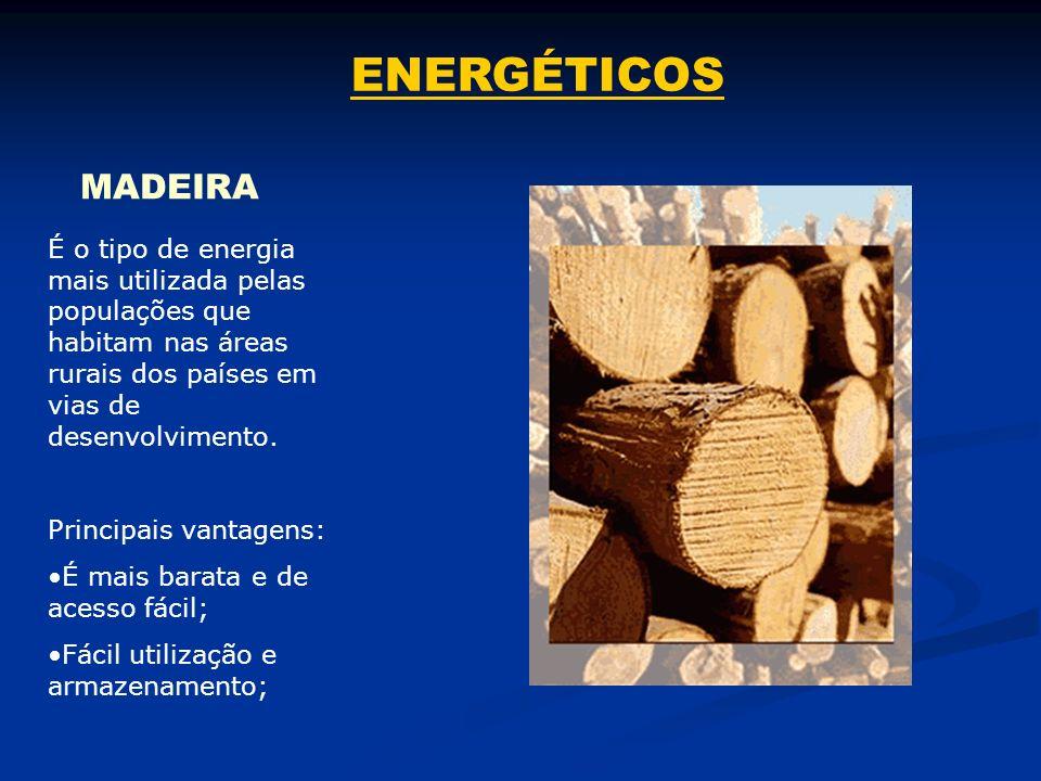 ENERGÉTICOS MADEIRA. É o tipo de energia mais utilizada pelas populações que habitam nas áreas rurais dos países em vias de desenvolvimento.