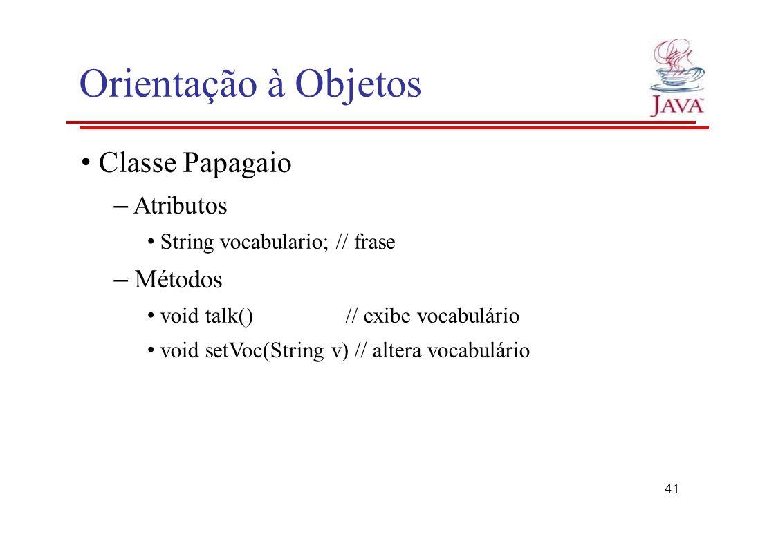 Orientação à Objetos • Classe Papagaio – Atributos – Métodos