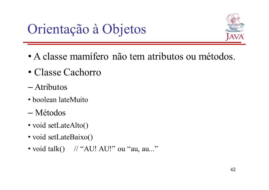 Orientação à Objetos • A classe mamífero não tem atributos ou métodos.