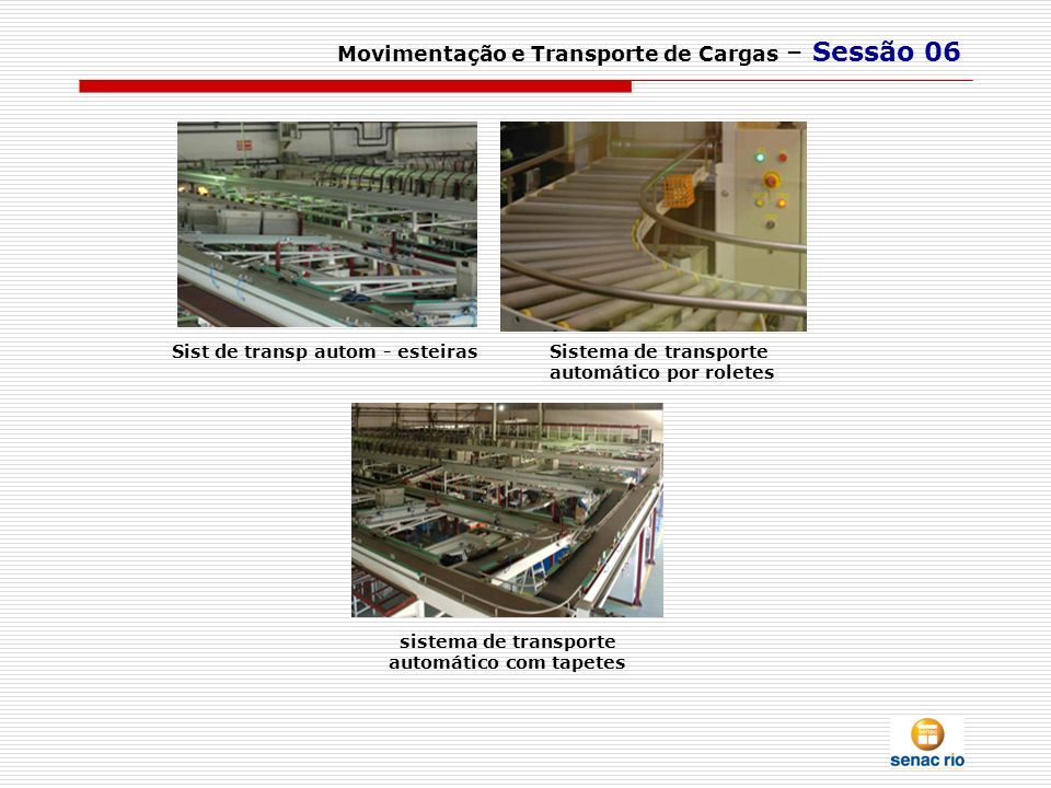 sistema de transporte automático com tapetes