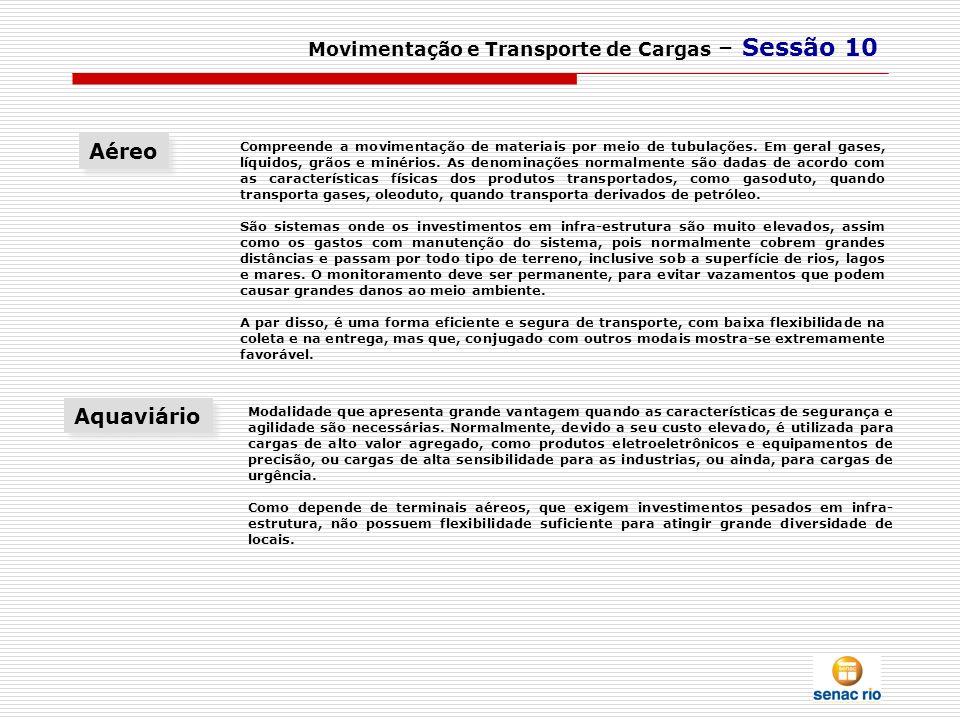 Aéreo Aquaviário Movimentação e Transporte de Cargas – Sessão 10