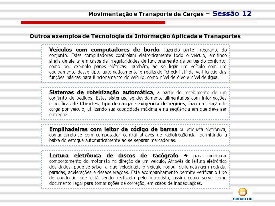 Outros exemplos de Tecnologia da Informação Aplicada a Transportes