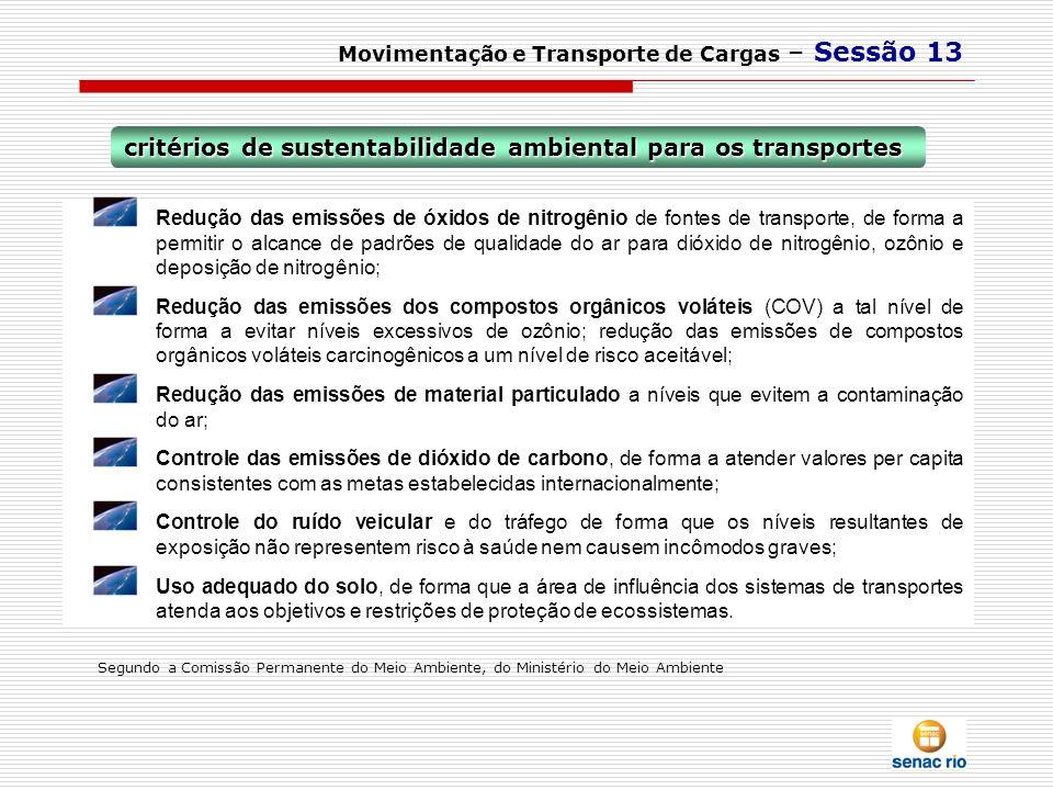 critérios de sustentabilidade ambiental para os transportes