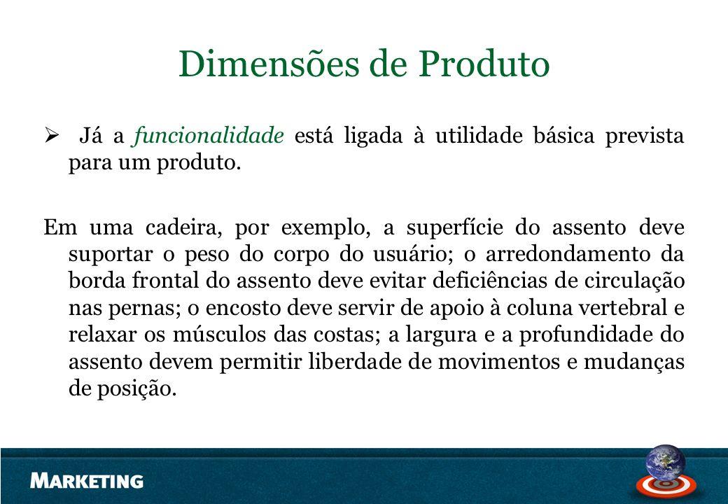 Dimensões de Produto Já a funcionalidade está ligada à utilidade básica prevista para um produto.