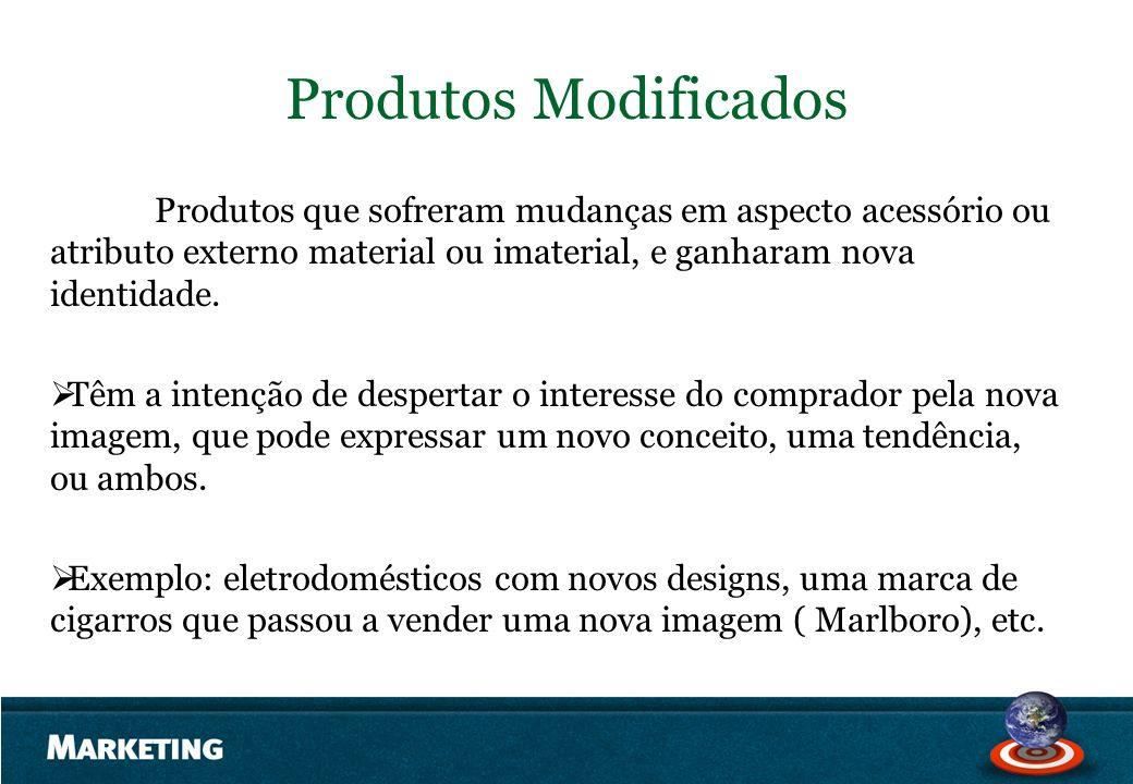 Produtos Modificados Produtos que sofreram mudanças em aspecto acessório ou atributo externo material ou imaterial, e ganharam nova identidade.