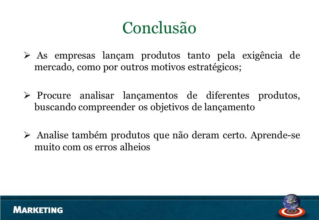 Conclusão As empresas lançam produtos tanto pela exigência de mercado, como por outros motivos estratégicos;
