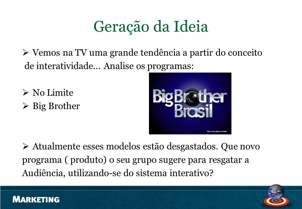 Geração da Ideia Vemos na TV uma grande tendência a partir do conceito