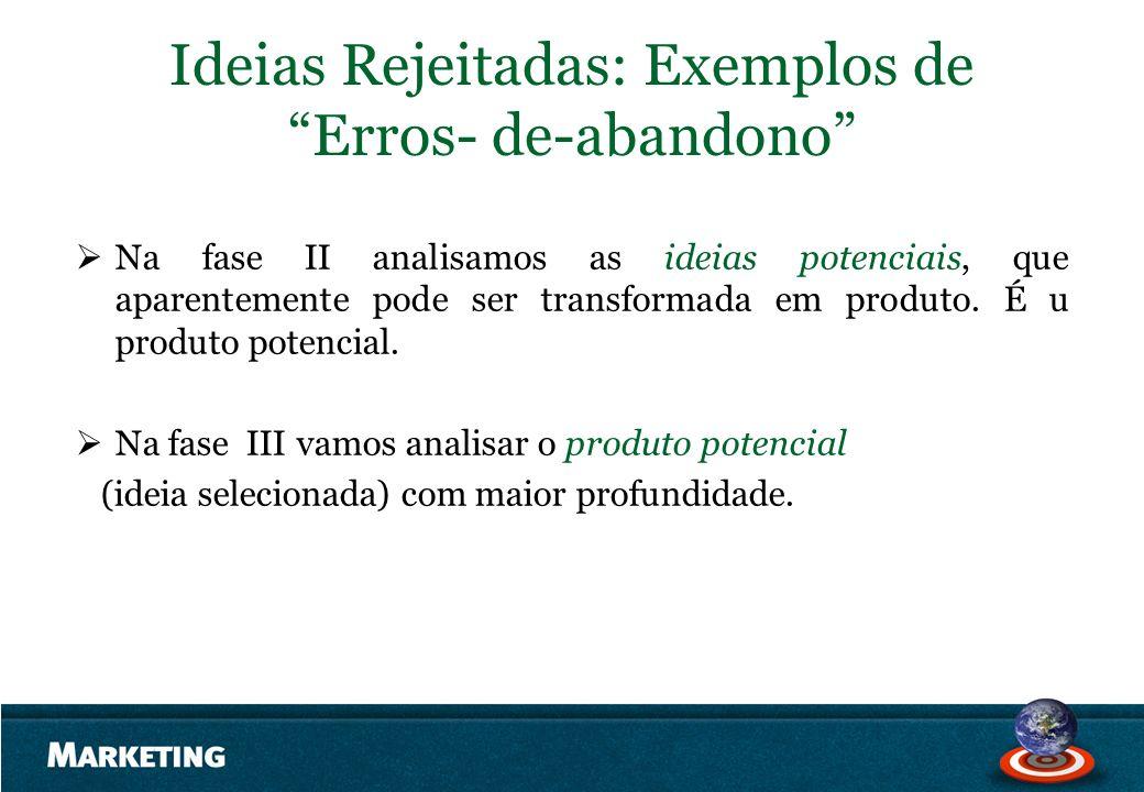 Ideias Rejeitadas: Exemplos de Erros- de-abandono