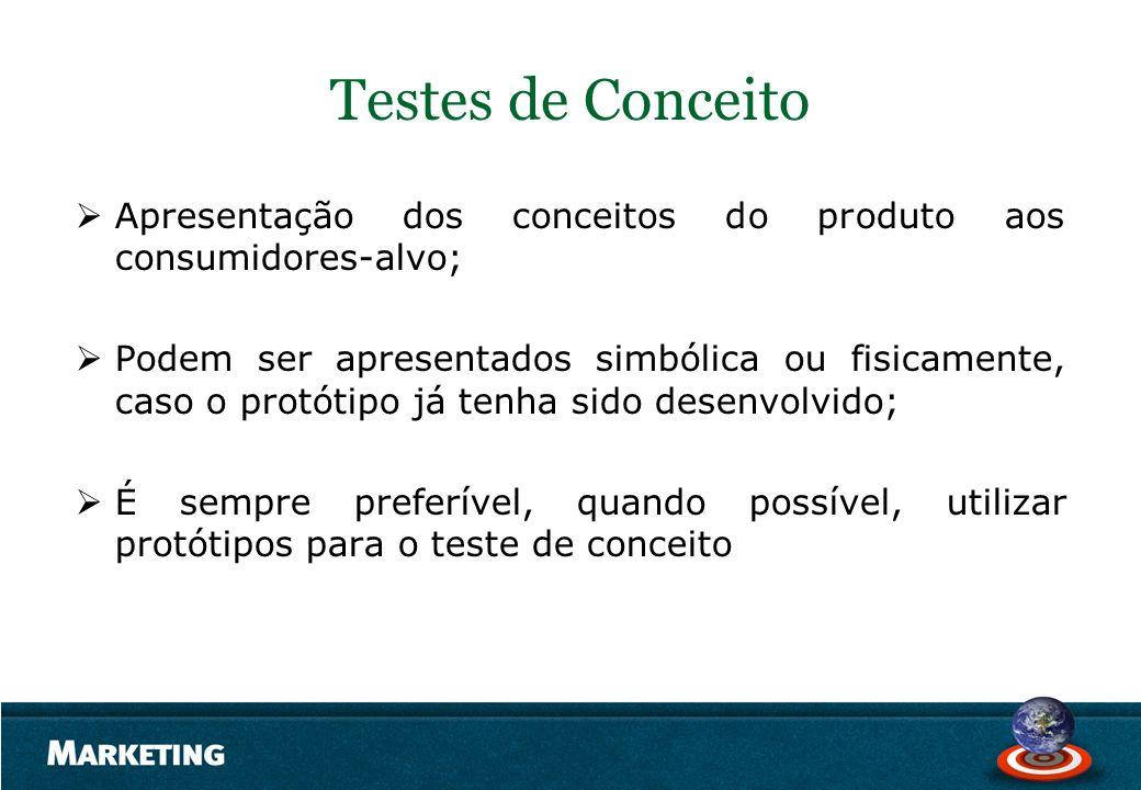 Testes de Conceito Apresentação dos conceitos do produto aos consumidores-alvo;