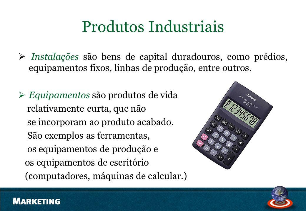Produtos Industriais Instalações são bens de capital duradouros, como prédios, equipamentos fixos, linhas de produção, entre outros.
