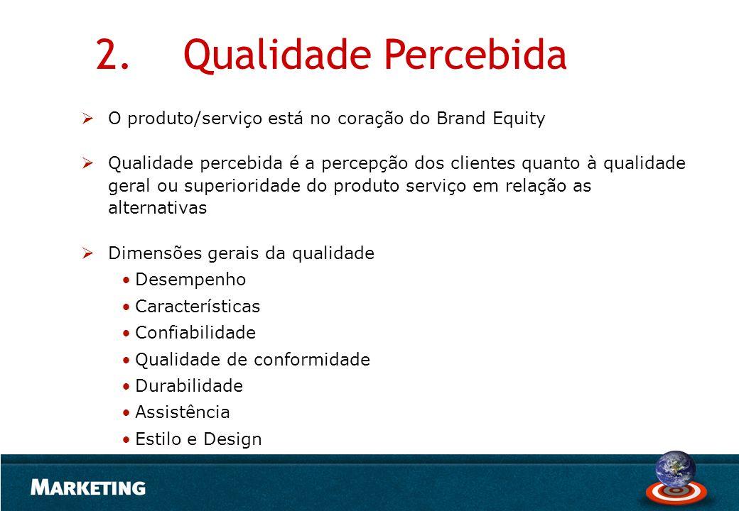 2. Qualidade Percebida O produto/serviço está no coração do Brand Equity.