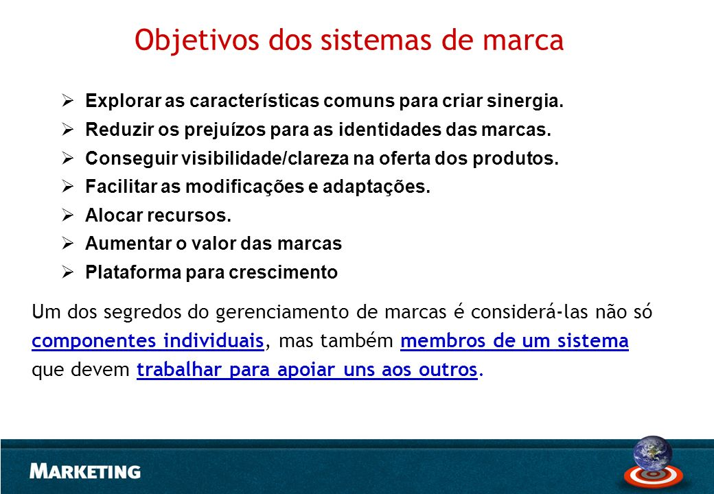 Objetivos dos sistemas de marca
