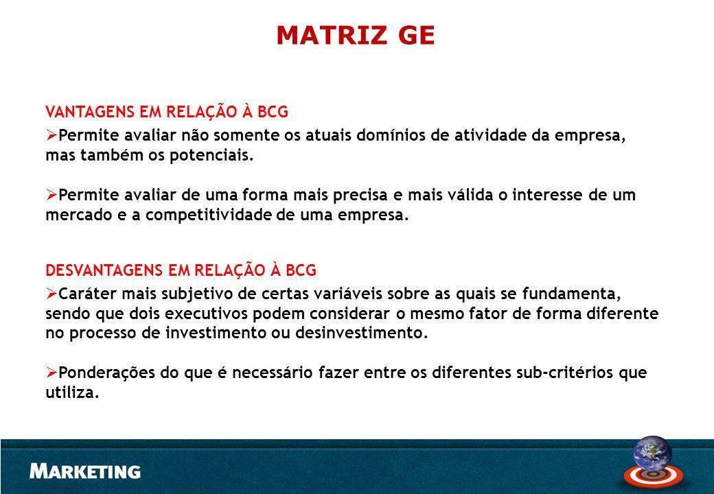 MATRIZ GE VANTAGENS EM RELAÇÃO À BCG