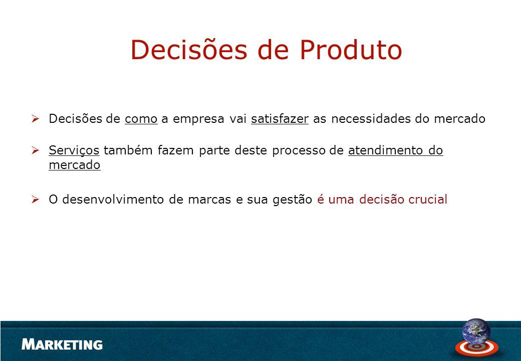 Decisões de Produto Decisões de como a empresa vai satisfazer as necessidades do mercado.