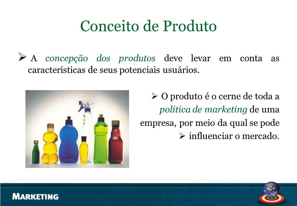 Conceito de Produto A concepção dos produtos deve levar em conta as características de seus potenciais usuários.