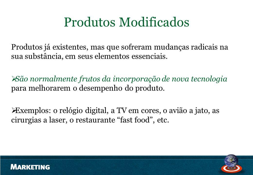 Produtos Modificados Produtos já existentes, mas que sofreram mudanças radicais na sua substância, em seus elementos essenciais.