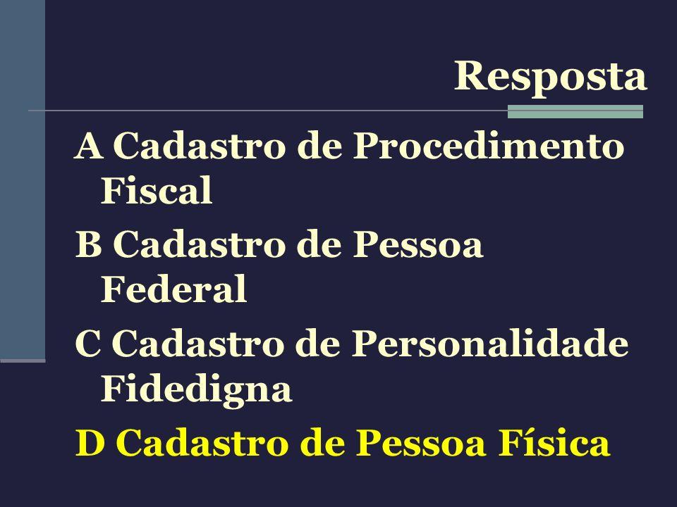 Resposta A Cadastro de Procedimento Fiscal