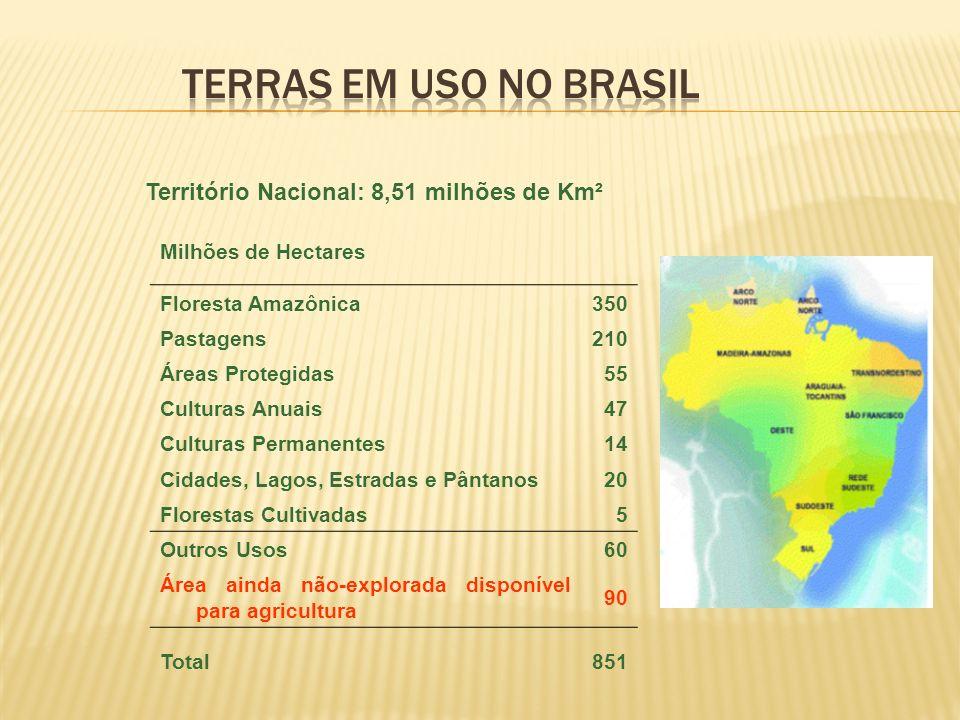 TERRAS EM USO NO BRASIL Território Nacional: 8,51 milhões de Km²