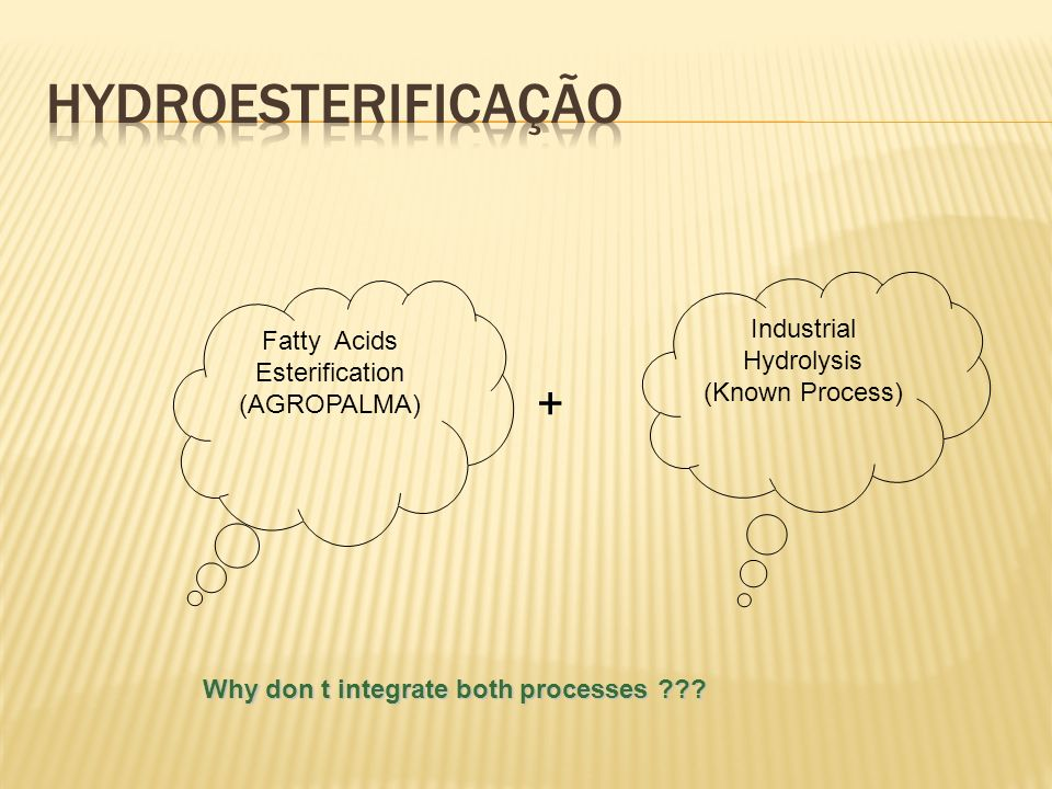 Hydroesterificação + Industrial Fatty Acids Hydrolysis Esterification