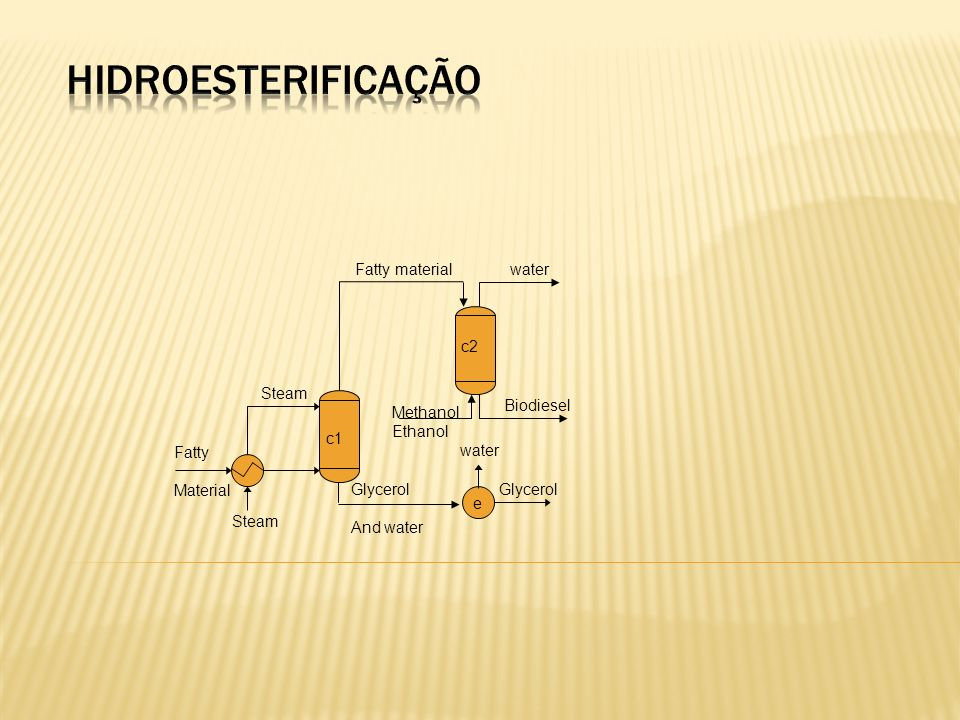 hidroesterificação Fatty material water c2 Steam Biodiesel Methanol