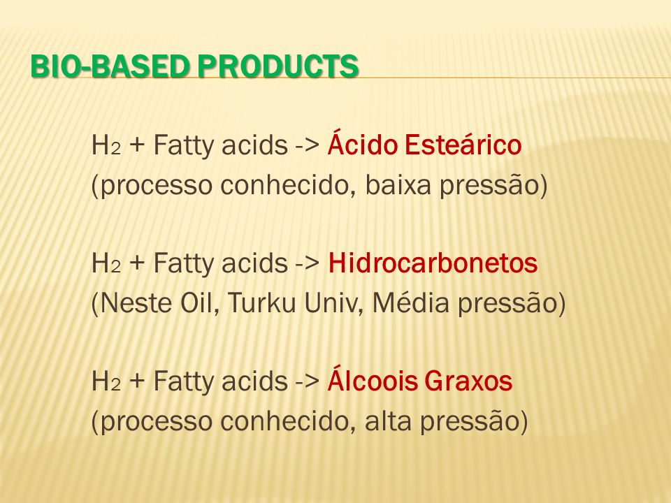 Bio-Based Products H2 + Fatty acids -> Ácido Esteárico