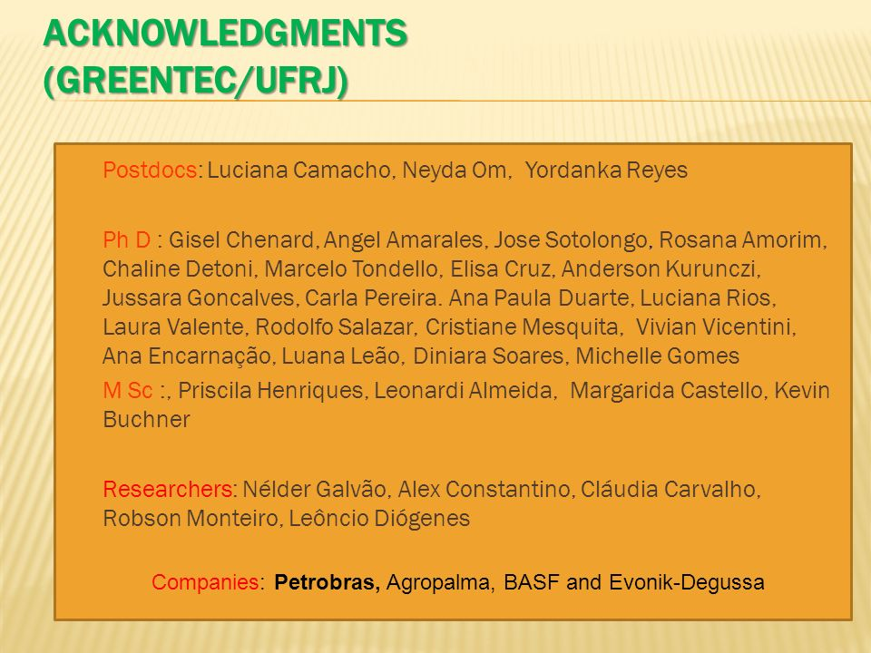 ACKNOWLEDGMENTS (Greentec/UFRJ)