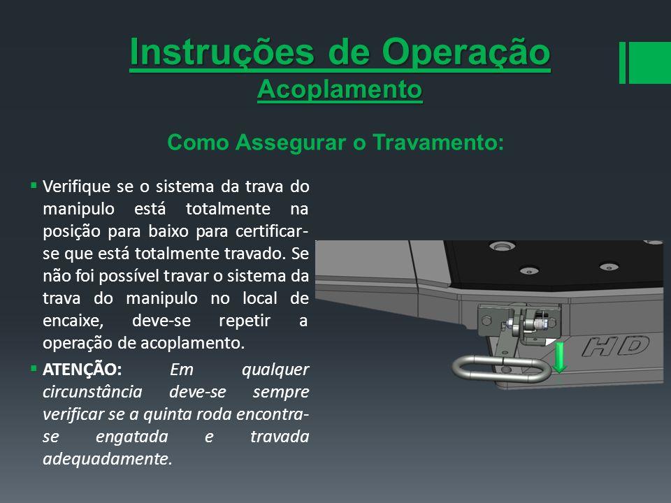Instruções de Operação Como Assegurar o Travamento: