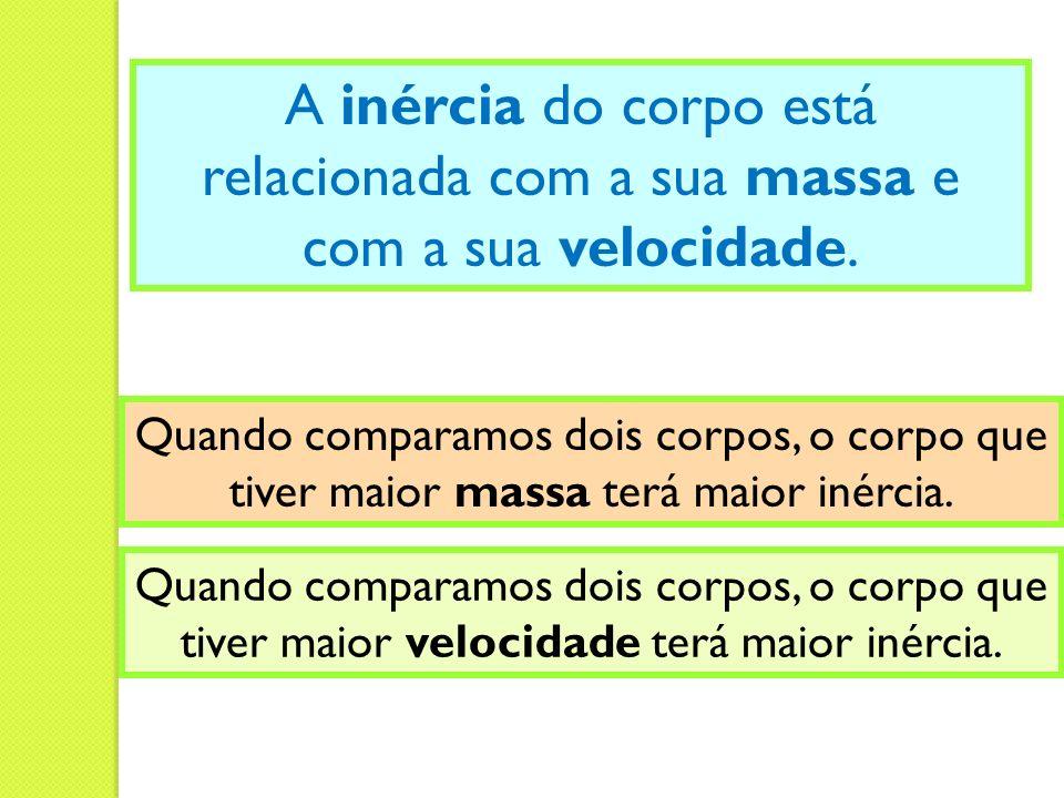 A inércia do corpo está relacionada com a sua massa e com a sua velocidade.