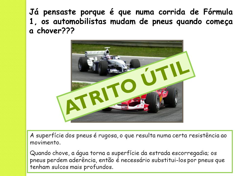Já pensaste porque é que numa corrida de Fórmula 1, os automobilistas mudam de pneus quando começa a chover