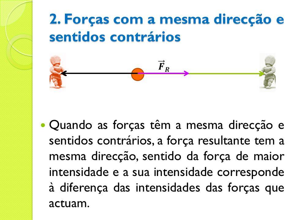 2. Forças com a mesma direcção e sentidos contrários