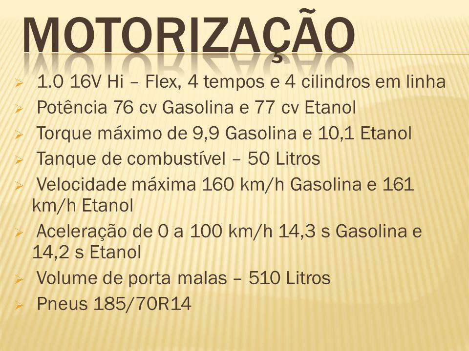 MOTORIZAÇÃO 1.0 16V Hi – Flex, 4 tempos e 4 cilindros em linha