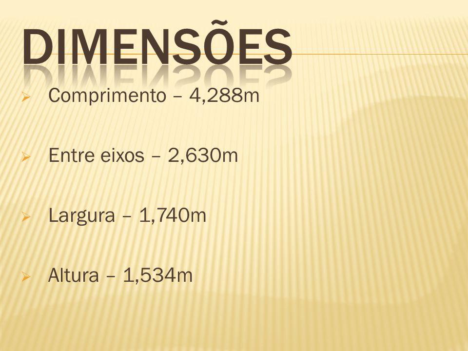 DIMENSÕES Comprimento – 4,288m Entre eixos – 2,630m Largura – 1,740m