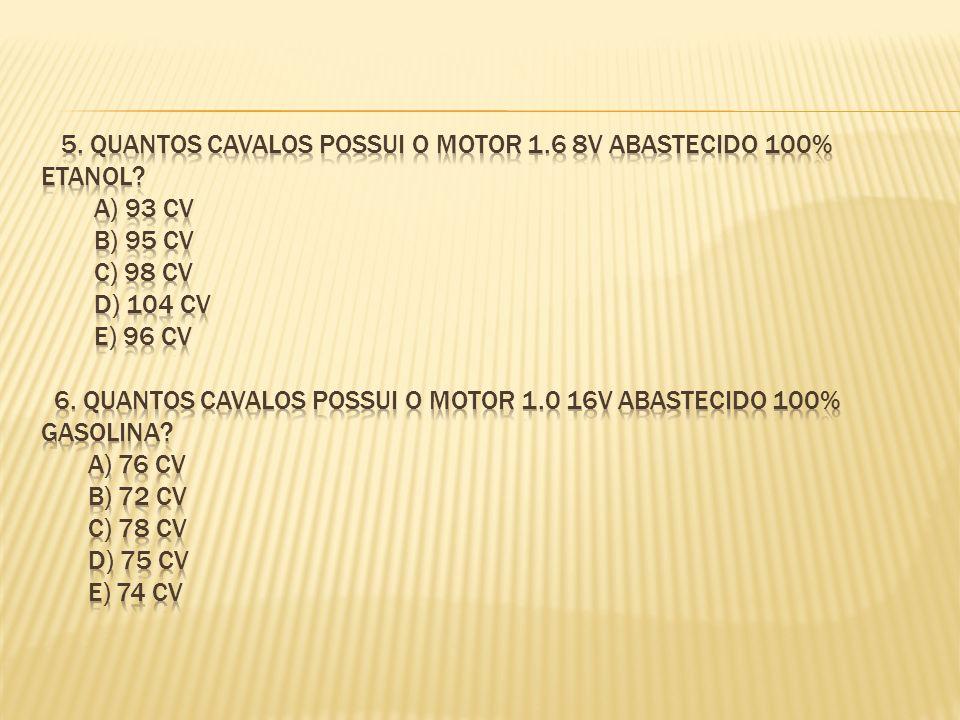 5. quantos cavalos possui o motor 1. 6 8v abastecido 100% etanol