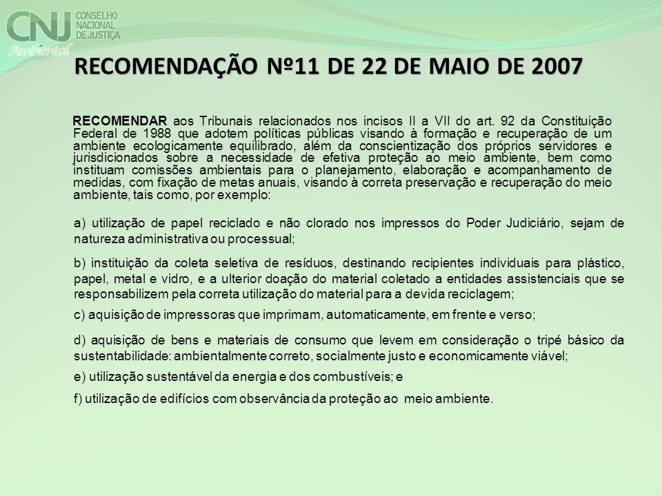 RECOMENDAÇÃO Nº11 DE 22 DE MAIO DE 2007
