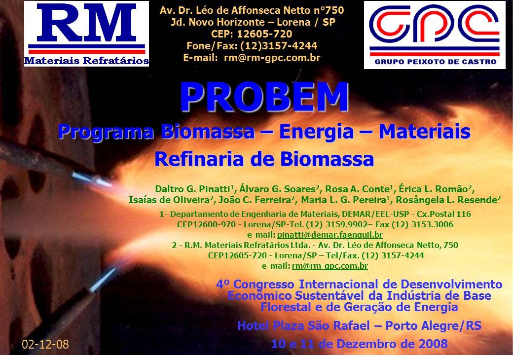 PROBEM Programa Biomassa – Energia – Materiais Refinaria de Biomassa