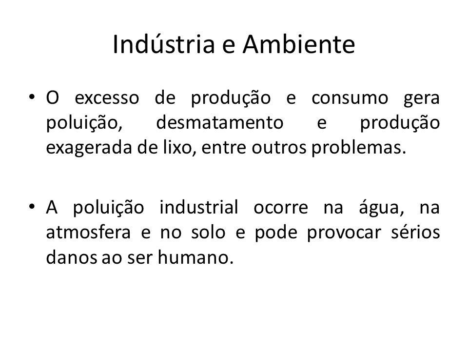 Indústria e Ambiente O excesso de produção e consumo gera poluição, desmatamento e produção exagerada de lixo, entre outros problemas.