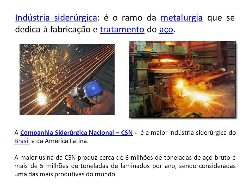 Indústria siderúrgica: é o ramo da metalurgia que se dedica à fabricação e tratamento do aço.
