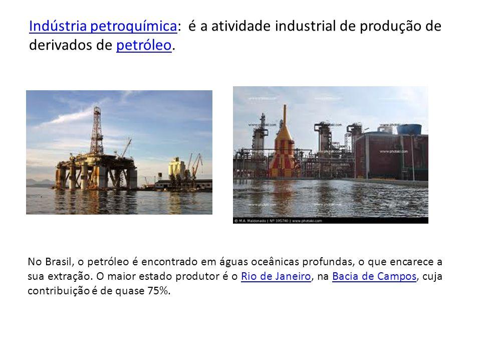 Indústria petroquímica: é a atividade industrial de produção de derivados de petróleo.