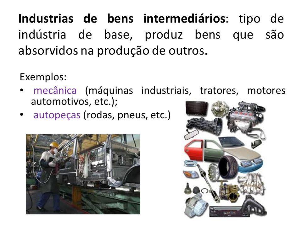 Industrias de bens intermediários: tipo de indústria de base, produz bens que são absorvidos na produção de outros.