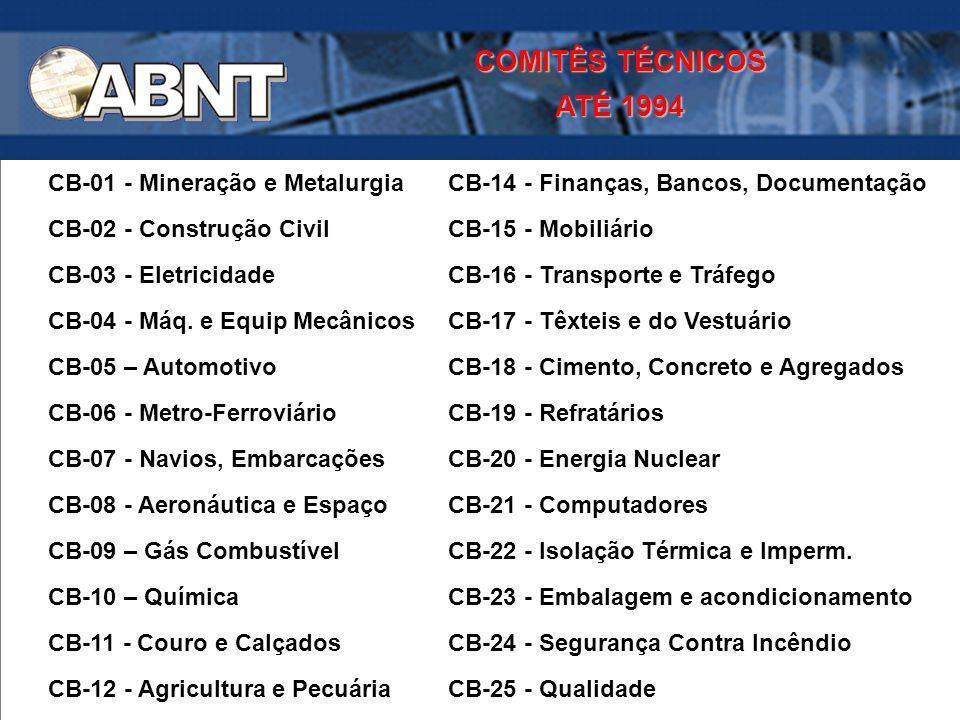 COMITÊS TÉCNICOS ATÉ 1994. CB-01 - Mineração e Metalurgia CB-14 - Finanças, Bancos, Documentação.