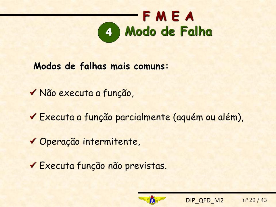 F M E A Modo de Falha 4 Modos de falhas mais comuns: