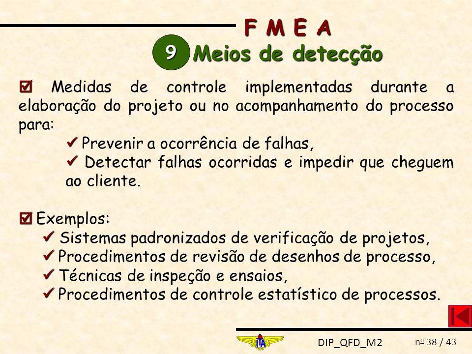 F M E A Meios de detecção. 9.  Medidas de controle implementadas durante a elaboração do projeto ou no acompanhamento do processo para: