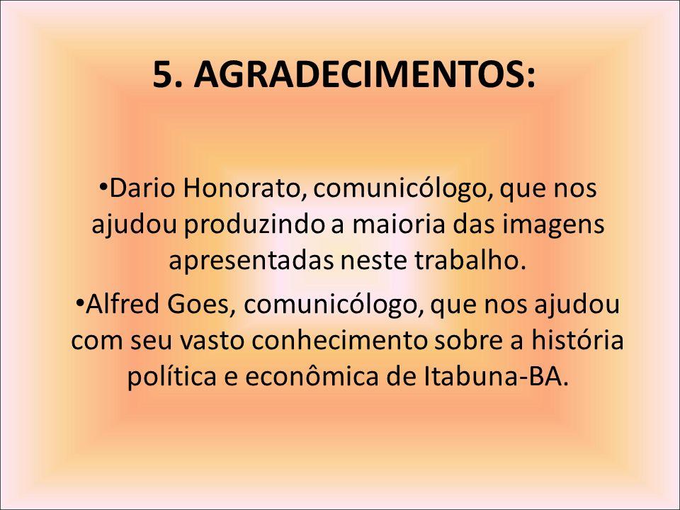 5. AGRADECIMENTOS: Dario Honorato, comunicólogo, que nos ajudou produzindo a maioria das imagens apresentadas neste trabalho.