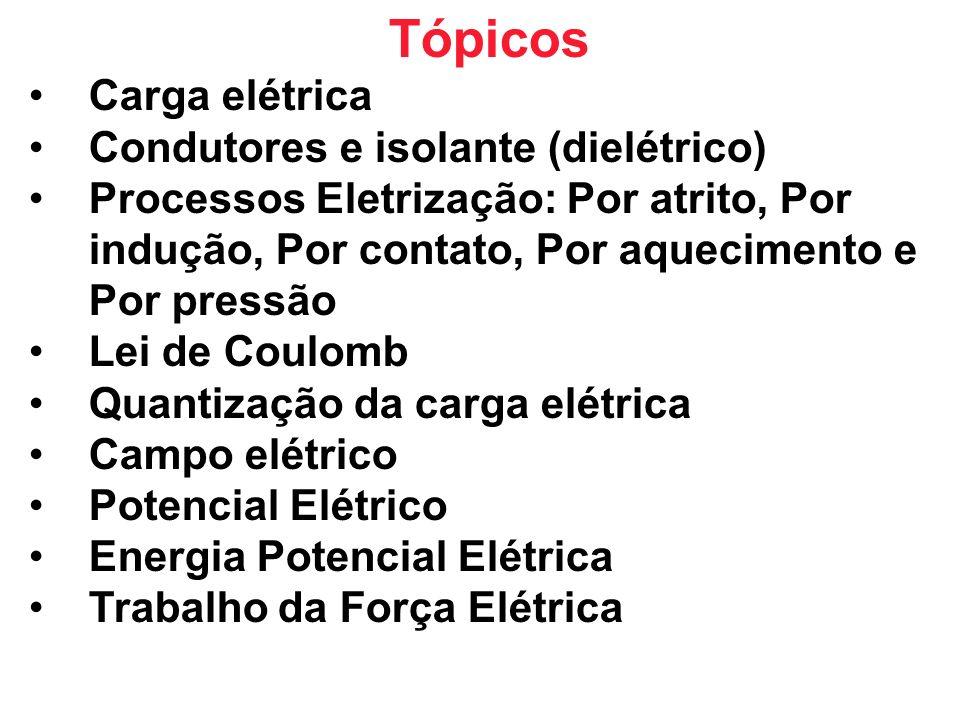 Tópicos Carga elétrica Condutores e isolante (dielétrico)