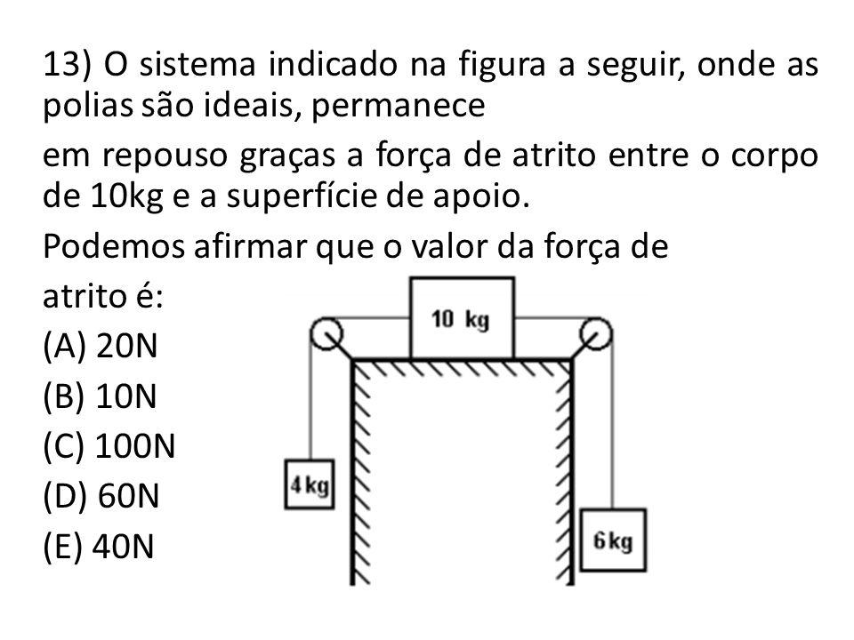 13) O sistema indicado na figura a seguir, onde as polias são ideais, permanece