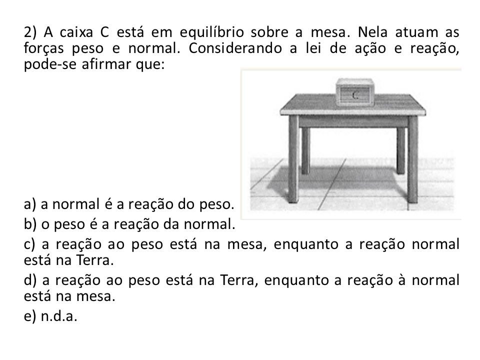 2) A caixa C está em equilíbrio sobre a mesa