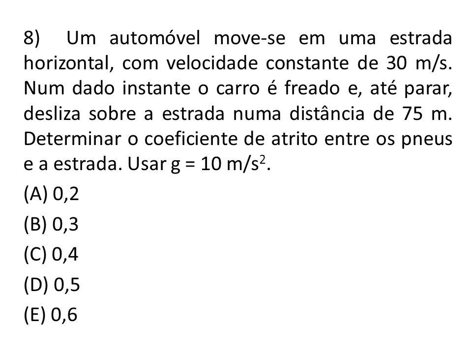 8) Um automóvel move-se em uma estrada horizontal, com velocidade constante de 30 m/s. Num dado instante o carro é freado e, até parar, desliza sobre a estrada numa distância de 75 m. Determinar o coeficiente de atrito entre os pneus e a estrada. Usar g = 10 m/s2.