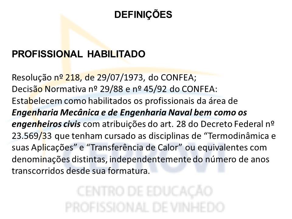 DEFINIÇÕES PROFISSIONAL HABILITADO. Resolução nº 218, de 29/07/1973, do CONFEA; Decisão Normativa nº 29/88 e nº 45/92 do CONFEA: